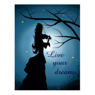 Live Your Dreams, Violin Player, Customizable Postcard