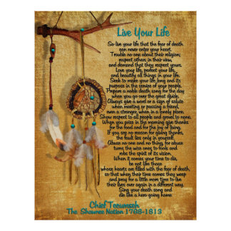 """""""Live Your Life""""Chief Tecumseh act of valor Poster"""