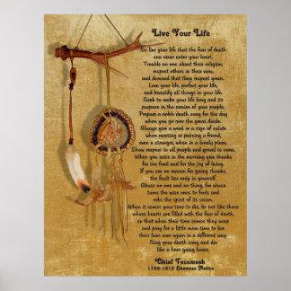"""Live Your Life"",Chief Tecumseh w/ Dream-catcher Poster"