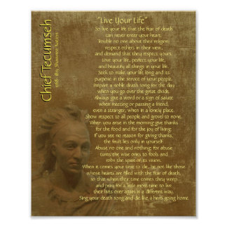"""Live Your Life""  on old parchment, Chief Tecumseh Poster"