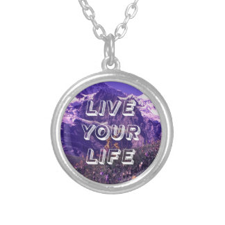 Live Your Life Round Pendant Necklace
