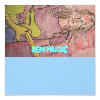 """Live Zen Music Girl Sketch 5.25"""" Square Invitation Card"""