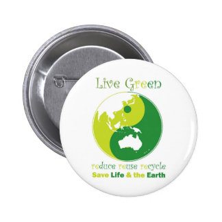 LiveGreen AustralAsia ying yang 2 Inch Round Button