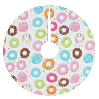 Lively colorful donuts sprinkles toppings pattern brushed polyester tree skirt