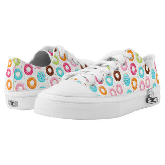 Lively colorful donuts sprinkles toppings pattern Low-Top sneakers