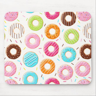 Lively colorful donuts sprinkles toppings pattern mouse pad