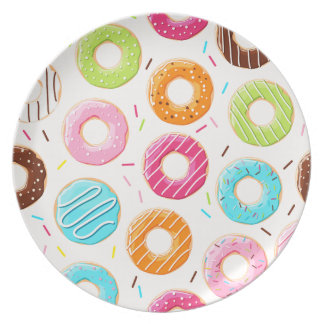 Lively colorful donuts sprinkles toppings pattern plate