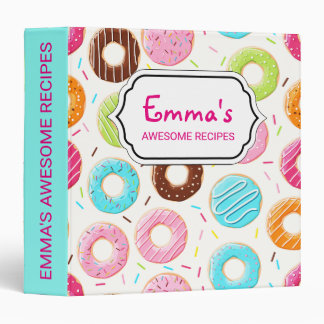 Lively colorful donuts sprinkles toppings pattern vinyl binder