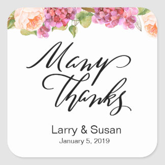 Lively Florals Thank You Sticker