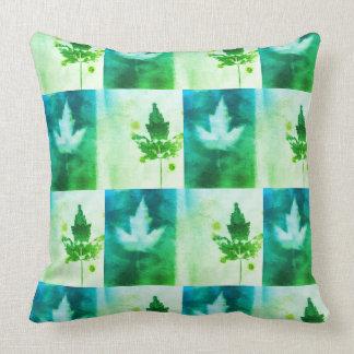 Lively Green Blue Aqua Maple Leaf Organic Art Throw Pillow