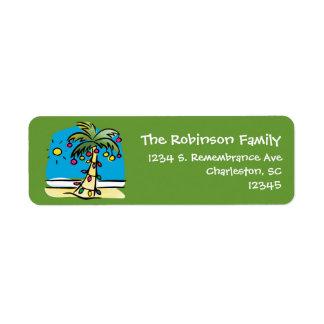 Lively Palm Christmas Return Address Label