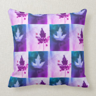 Lively Purple Blue Aqua Original Art Maple Leaf Throw Pillow