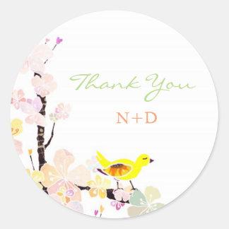 Lively Spring Bird Wedding Thank You Round Sticker