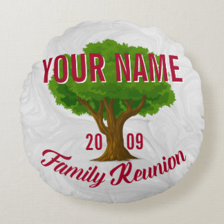 Lively Tree Personalized Family Reunion Round Pillow