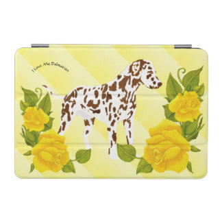 Liver and white Dalmatian with Yellow Roses iPad Mini Cover