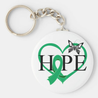 Liver Cancer Hope Butterfly Heart Décor Basic Round Button Keychain