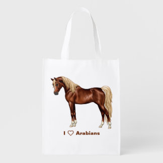 Liver Chestnut Flaxen Mane Tail Egyptian Arabian Reusable Grocery Bag