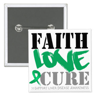 Liver Disease Faith Love Cure 2 Inch Square Button
