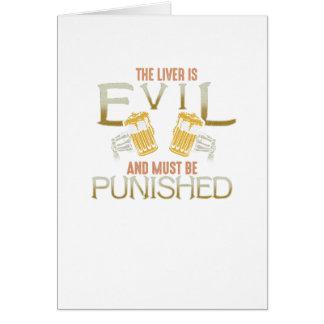 Liver is evil beer with bones biker style shirt card