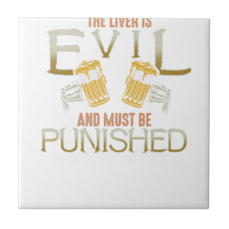 Liver is evil beer with bones biker style shirt tile