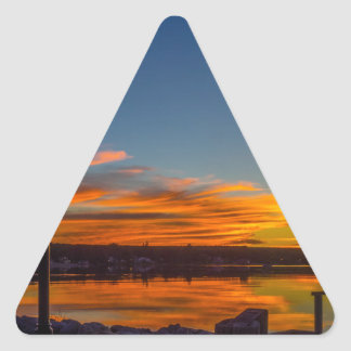 Liverpool Bay Sunset Triangle Sticker