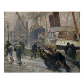 Liverpool Dockers at Dawn, 1903 Poster