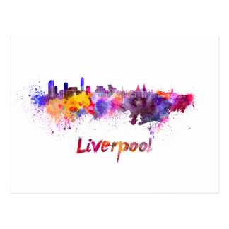 Liverpool skyline in watercolor postcard