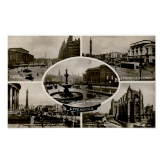 Liverpool, UK, England, 5 Views, Vintage Poster