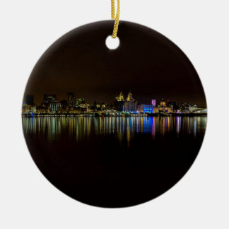 Liverpool Waterfront Round Ceramic Ornament