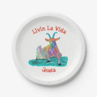 Livin La Vida Goata Funny Screaming Goat Design Paper Plate