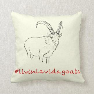 Livin La Vida Goata Funny Slogan Goat Line Drawing Throw Pillow
