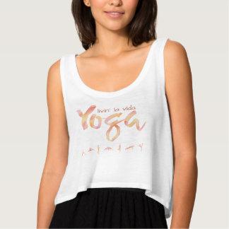 Livin La Vida YOGA Watercolor Text Design Tank Top