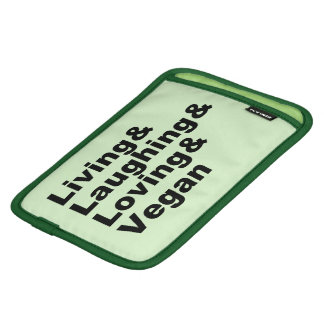 Living and Laughing and Loving and Vegan (blk) iPad Mini Sleeve