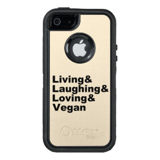 Living and Laughing and Loving and Vegan (blk) OtterBox Defender iPhone Case