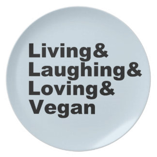 Living and Laughing and Loving and Vegan (blk) Plate