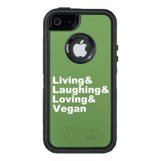 Living and Laughing and Loving and Vegan (wht) OtterBox Defender iPhone Case