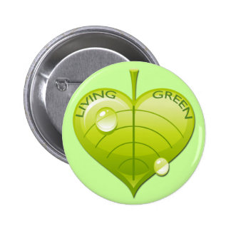 LIVING GREEN LEAF 2 INCH ROUND BUTTON
