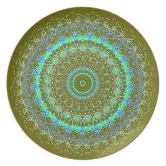 Living Green Mandala kaleidoscope plate
