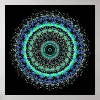 Living Green Mandala kaleidoscope poster print 2