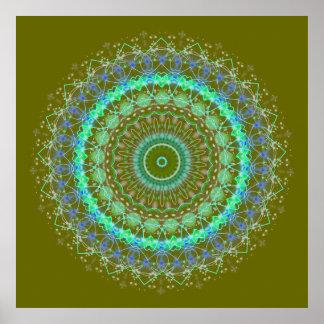 Living Green Mandala kaleidoscope poster print 3