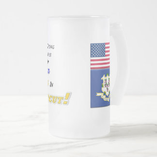 Living In Connecticut! 16 oz Frosted Glass Mug