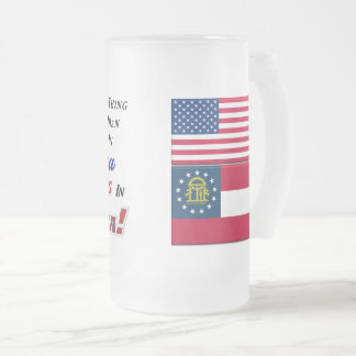 Living In Georgia! 16 oz Frosted Glass Mug