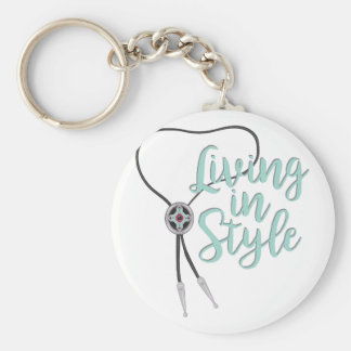Living In Style Basic Round Button Keychain