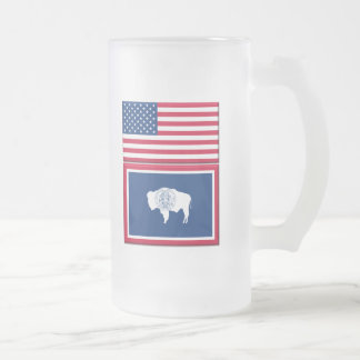 Living In WY, 16 oz Frosted Glass Mug