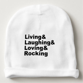 Living&Laughing&Loving&ROCKING (blk) Baby Beanie