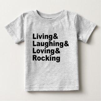 Living&Laughing&Loving&ROCKING (blk) Baby T-Shirt