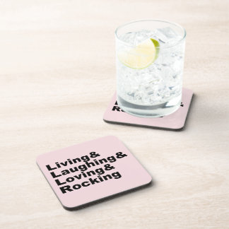 Living&Laughing&Loving&ROCKING (blk) Coaster