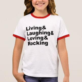 Living&Laughing&Loving&ROCKING (blk) Ringer T-Shirt