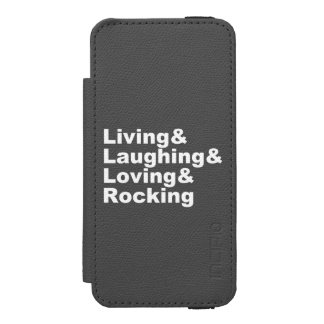 Living&Laughing&Loving&ROCKING (wht) Incipio Watson™ iPhone 5 Wallet Case