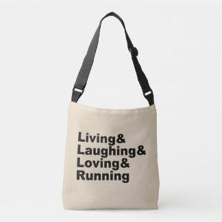 Living&Laughing&Loving&RUNNING (blk) Crossbody Bag